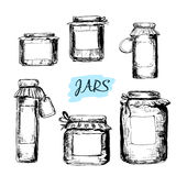 Jars with labels vector illustration
