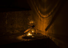 Jars lanterns on the stairs Stock Photography