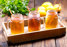 Jars of lemon ice tea Royalty Free Stock Image