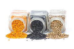 Jars with lentils Stock Photo