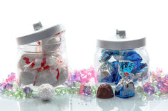Jars of luxury Christmas chocolates Stock Photo