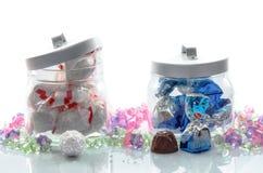Jars of luxury Christmas chocolates Stock Photo
