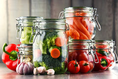 Jars with marinated food and organic raw vegetables Stock Images