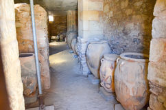Jars in the Minoan palace Festos Royalty Free Stock Image