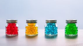 Jars with multi-colored gel balls