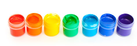 Jars with multicolored gouache Stock Photography