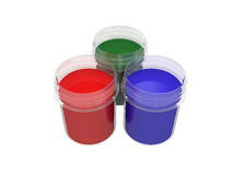 Jars with multicolored gouache isolated on white background, 3d rendering Royalty Free Stock Photos