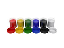 Jars with multicolored gouache isolated on white background, 3d rendering. Illustration Stock Images