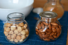 Jars with nuts Stock Photo