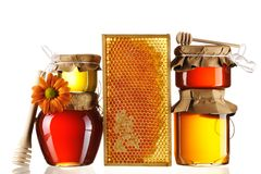 Free Jars Of Honey And Dipper Stock Photos - 19043323