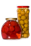 Jars Of Marinaded Fruits, Isolated Royalty Free Stock Photography