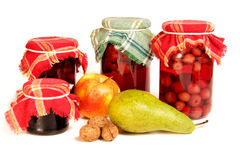 Jars Of Preserves On White Royalty Free Stock Photography