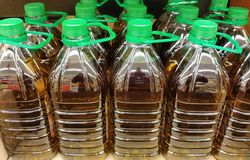 Jars of olive oil stock photo