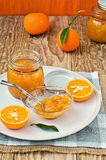 Jars of orange marmalade. Homemade. Royalty Free Stock Photo
