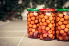 Jars of organic homemade Preserved Cherries Stock Image