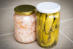 Jars of organic pickled vegetables. Marinated food Royalty Free Stock Photo