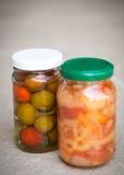 Jars of organic pickled vegetables. Marinated food Stock Photo