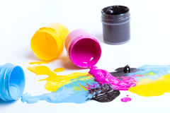 Jars with a paint Stock Photography