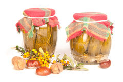 Jars in the pantry on white Royalty Free Stock Photos