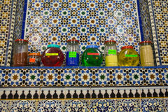 Jars of perfume for sale at Tetouan souk Royalty Free Stock Photography