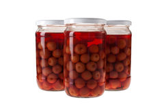 Jars of Pickled Cherries Stock Photography
