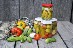 Jars with pickled cucumbers Royalty Free Stock Photography