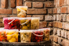 Jars with pickled vegetables in cellar Stock Photography