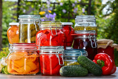 Jars of pickled vegetables and fruits in the garden Royalty Free Stock Photo