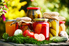 Jars of pickled vegetables in the garden Royalty Free Stock Images