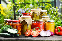 Jars of pickled vegetables in the garden. Marinated food Royalty Free Stock Photography