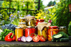 Jars of pickled vegetables in the garden. Marinated food royalty free stock photos