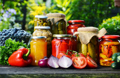 Jars of pickled vegetables in the garden. Marinated food Stock Images