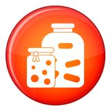 Jars with pickled vegetables and jam icon Royalty Free Stock Images