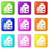 Jars with pickled vegetables and jam icons 9 set Stock Photography