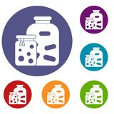 Jars with pickled vegetables and jam icons set Stock Photography