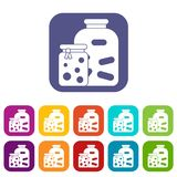 Jars with pickled vegetables and jam icons set Royalty Free Stock Photos