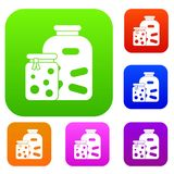 Jars with pickled vegetables and jam set collection Royalty Free Stock Image