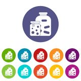 Jars with pickled vegetables and jam set icons Stock Image