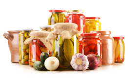 Jars of pickled vegetables. Marinated food Stock Photos