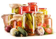 Jars of pickled vegetables. Marinated food Royalty Free Stock Photo