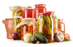 Jars of pickled vegetables. Marinated food Stock Photo