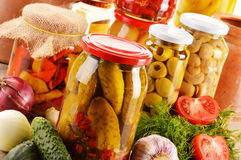 Jars of pickled vegetables. Marinated food Royalty Free Stock Photography