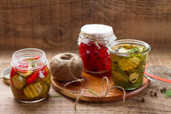 Jars with pickled vegetables Stock Photography