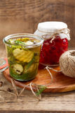 Jars with pickled vegetables Royalty Free Stock Image