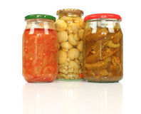Jars with pickled vegetables Royalty Free Stock Photo