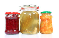 Jars with pickled vegetables Royalty Free Stock Images