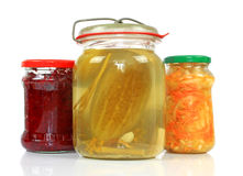 Jars with pickled vegetables Royalty Free Stock Photography