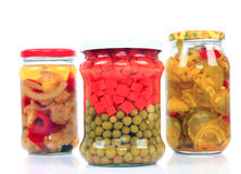 Jars with pickled vegetables Stock Photos