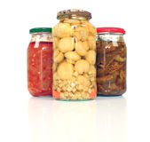 Jars with pickled vegetables Stock Images