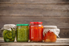 Jars with pickled vegetables Royalty Free Stock Photos